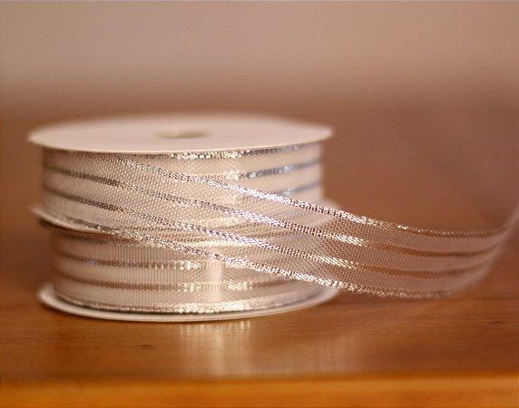 Fita Decorativa Larga- Metálica prata