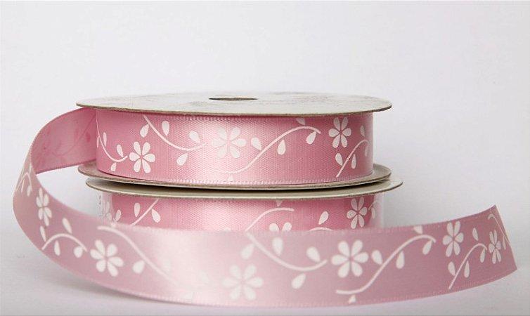 Fita Decorativa - Rosa e Flor Branca