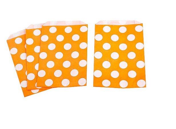 Saquinhos Decorados - Laranja Big Dots  (10 unidades)