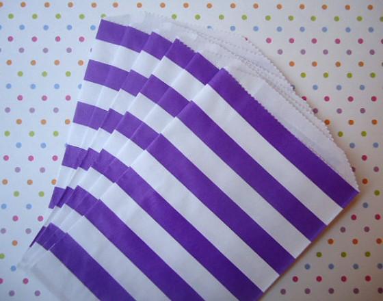 Saquinhos Decorados - Listrado Lilás  (10 unidades)