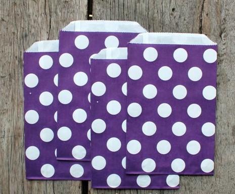 Saquinhos Decorados - Lilás  Big Dots  (10 unidades)