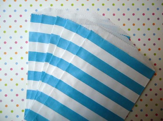 Saquinhos Decorados - Listrado Azul Bebê