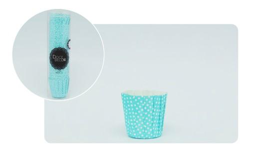 Forminha Mini  Cupcake Plissê - Poá Azul Claro