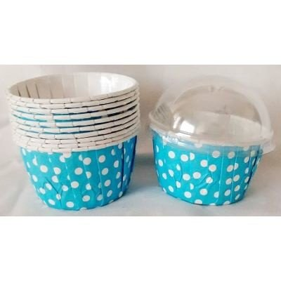 Copinho Para Cupcake Forneável- Plissê Poá Azul