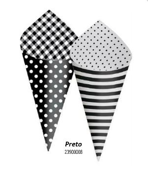 Cone Decorativo Para Festa- Preto