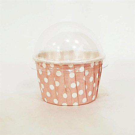 Copinho Para Cupcake Forneável- Plissê Poá Rosa