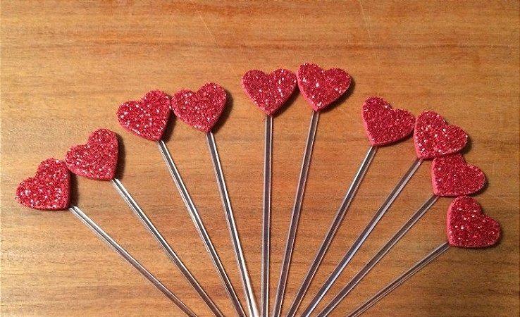 Espetinho Coração Grande - Vermelho (10 unidades)
