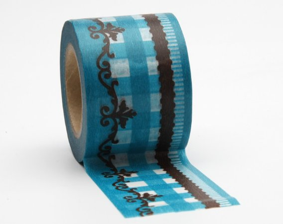 Washi Tape Barrado Chique - Azul Turqueza