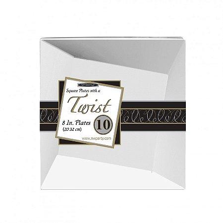 Prato 20cm Twist Branco (10 unidades)