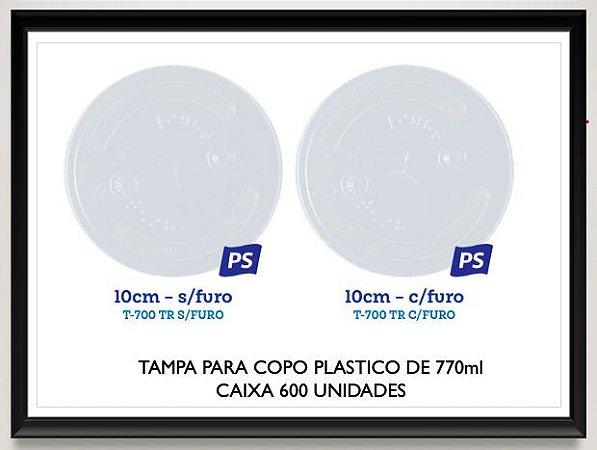 Tampa para copo plastico 770ml (Com ou sem furo) Caixa 600 uni