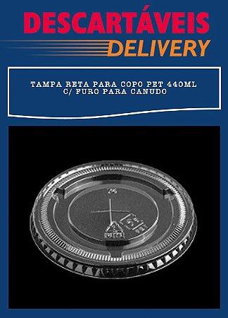 Tampa reta com furo para canudo -Copo PET 440ml