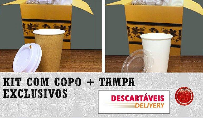 Kit Copo Polipapel + Tampa bico 100ml  -Kraft ou Branco - Lançamento