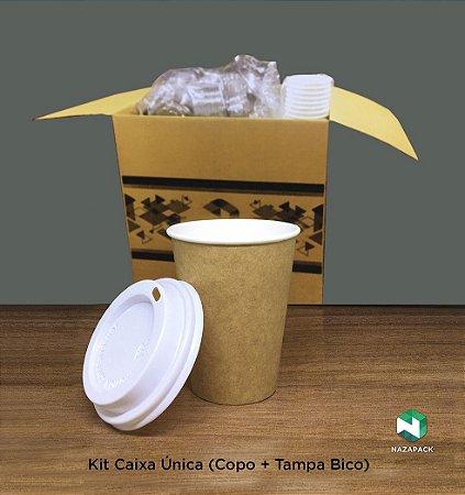 Kit Copo Polipapel + Tampa bico 300ml -Kraft ou Branco - Lançamento