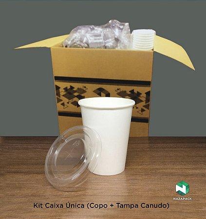 Kit Copo Polipapel + Tampa P/ Canudo 300ml -Kraft ou Branco - Lançamento