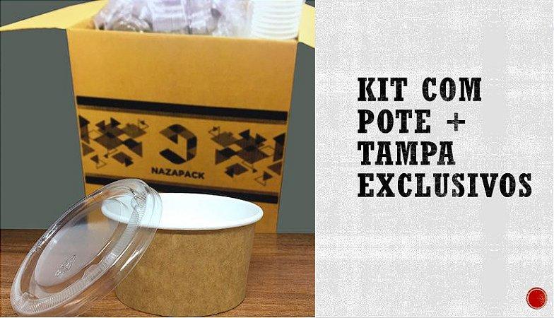Kit Pote Polipapel + Tampa pet 120ml -Kraft ou Branco - Lançamento