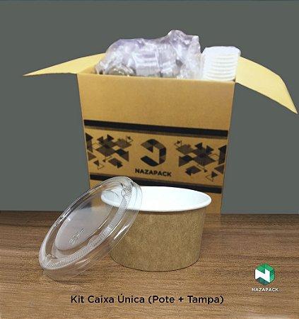 Kit Pote Polipapel + Tampa pet 220ml -Kraft ou Branco - Lançamento