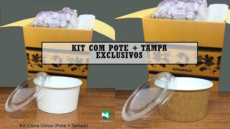 Kit Pote Polipapel + Tampa pet 280ml -Kraft ou Branco - Lançamento