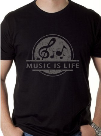 "Camiseta Masculina ""Music is Life"""
