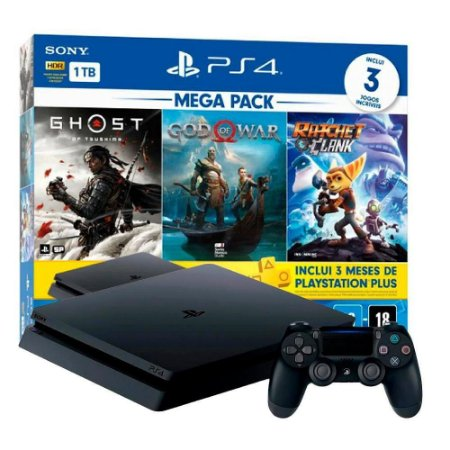 Console PlayStation 4 Mega Pack 1TB Ghost of Tsushima + God of War + Ratchet & Clank + PSN 3 Meses - PS4