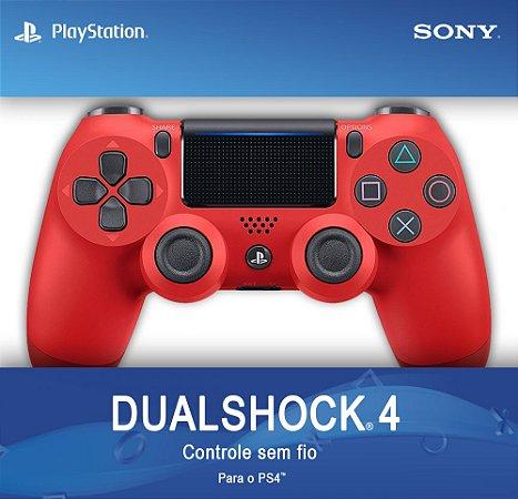 Controle Sony Dualshock 4 Vermelho - Sem Fio - PS4