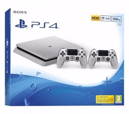 Console PlayStation 4 Slim Prata Silver 500 gb Com 2 Controles - Sony