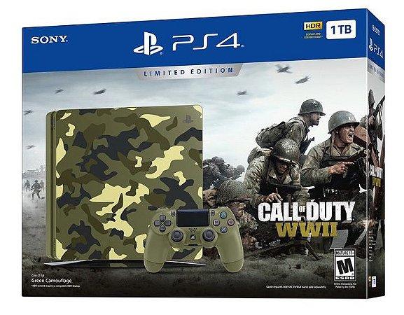 Console Playstation 4 Slim 1tb 1 Tera Camuflado Call Of Duty Ww 2 - Sony