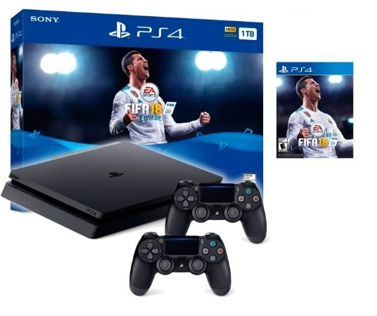 Console Playstation 4 Slim 1tb 1 Tera Com 2 Controles + Jogo Fifa 18 (Mídia Física Em Português)
