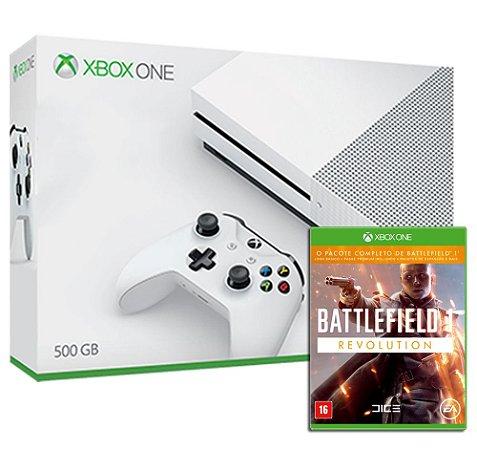 Xbox One S 4k Branco 500gb + Jogo Battlefield Bf1 Revolution (Mídia Física) - Microsoft