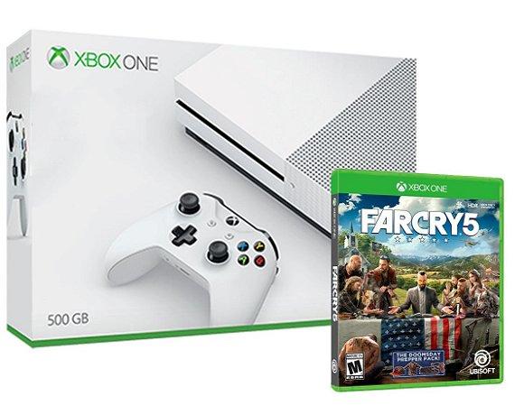 Xbox One S 4k Branco 500gb + Jogo FarCry 5  (Mídia Física) - Microsoft