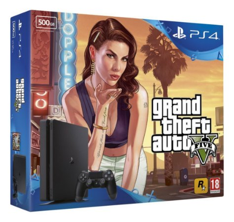 Console Playstation 4 Slim 500 Gb com o Jogo GTA V (Em Português - Mídia Física) - Sony