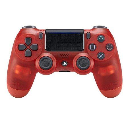 Controle Sony Dualshock 4 Crystal Red Vermelho Transparente - Sem Fio - PS4