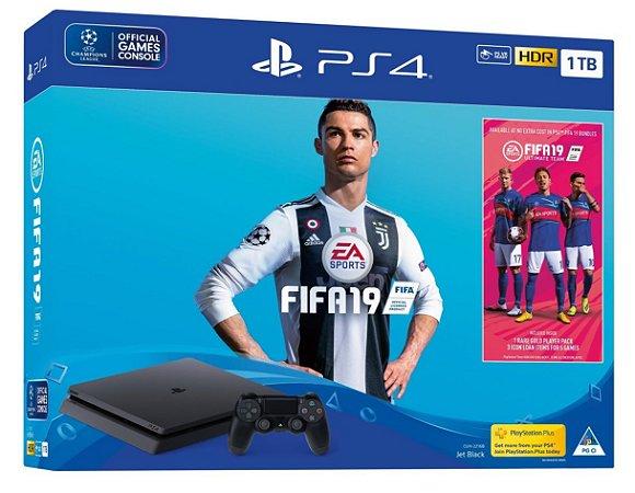 Console Playstation 4 Slim 1tb 1 Tera com o Jogo FIFA 19 (Mídia Física Em Português) - Sony