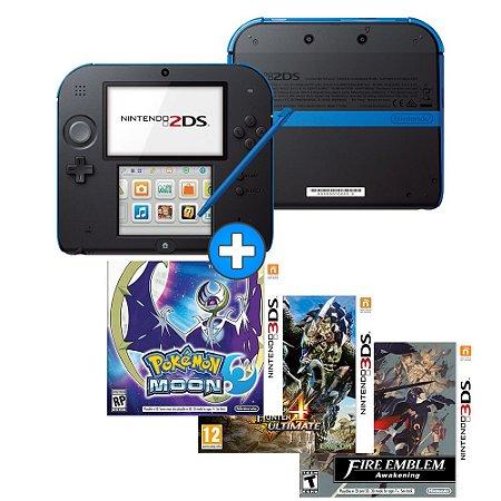 Nintendo 2DS + Jogo Pokémon Moon + Monster Hunter 4 Ultimate + Fire Emblem: Awakening - Seminovo - Nintendo