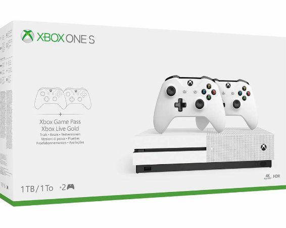 Console Xbox One S 1 Tera 1 Tb + 4K Com 2 Controles - Microsoft