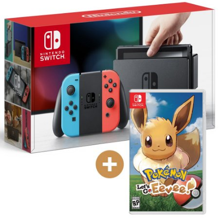 Console Nintendo Switch + Jogo Pokémon Lets Go Eevee - Switch