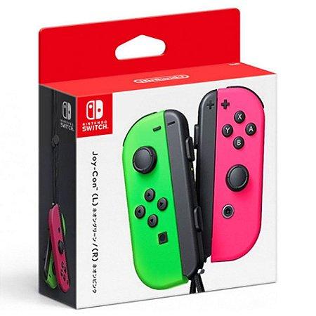 Controle Joy Con Nintendo Switch Par Verde Rosa- Switch