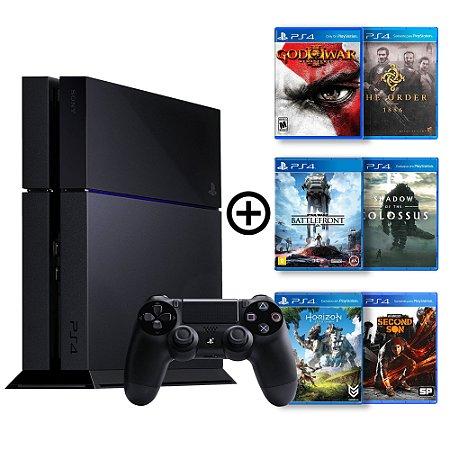 Console Playstation 4 Seminovo + 6 Jogos (Mídia Física) - Sony