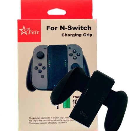 Carregador Controle Nintendo Switch Grip Powerbank Feir - Switch