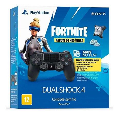 Controle Sony Dualshock 4 Preto + Voucher Fortnite - Sem Fio - PS4