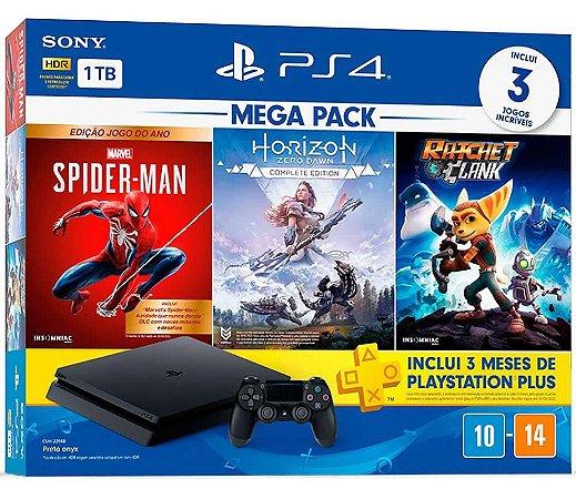 Console Playstation 4 Slim 1Tb Mega Pack - Spider Man - Horizon Zero Dawn - Ratchet e Clank + PSN 3 Meses - PS4