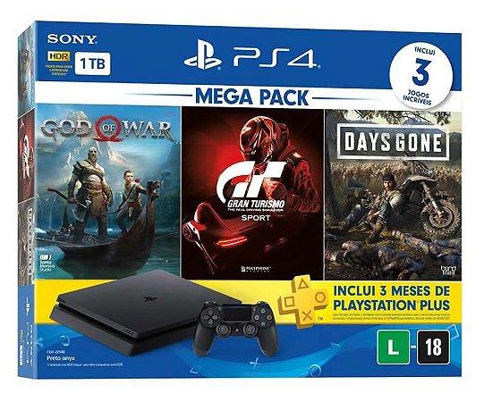 Console Playstation 4 Slim 1 Tera Bundle Hits - God Of War + Gran Turismo + Days Gone - PS4
