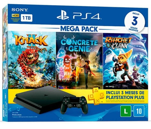 Console Playstation 4 Slim 1Tb Mega Pack - Knack 2 + Concrete Genie + Ratchet e Clank + PSN 3 Meses - PS4