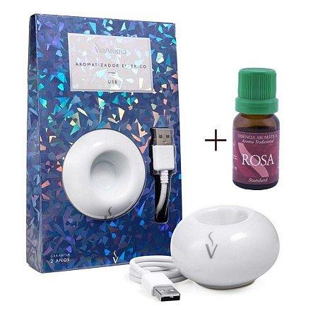 Aromatizador USB+Essência Rosa-Calmante e Relaxante