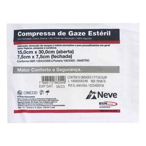 COMPRESSA DE GAZE ESTERIL 7,5X7,5 13F CROCHE NEVE