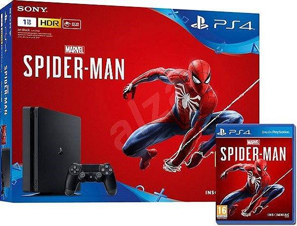 Resultado de imagem para playstation 4 slim 1tb modelo 2215b com jogo spider man preto