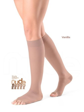 Meia Sigvaris Ever Sheer Nude, 20-30 mmHg, 3/4 Cor: Vanila