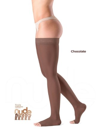 Meia Sigvaris Ever Sheer Nude, 20-30 mmHg, 7/8 Cor: Chocolate