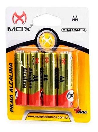 Kit Com 4 Pilhas Aa Alcalina Mox Comum Alto Rendimento