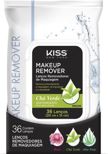 KISS NEW YORK Makeup Remover Lenços Removedores de Maquiagem Chá Verde Pele Oleosa
