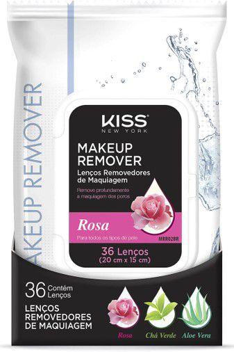 KISS NEW YORK Makeup Remover Lenços Removedores de Maquiagem Rosa Todos os Tipos de Pele